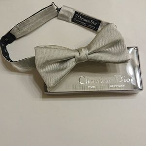Christian Dior silver silk bow tie
